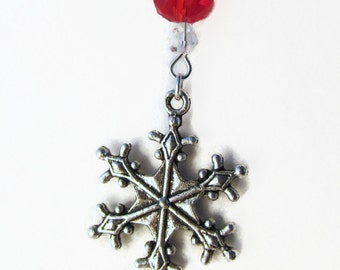 Snowflake Clear & Red 16in Silver Tone Necklace (CN4)