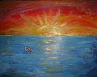 "Sunset over the sea. Folded greeting card from my original acylic painting . 8""x6"" Blank for your own message."