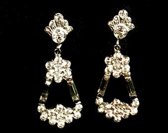 Crystal earrings bridal dangle drop screw backs sterling fashion jewelry