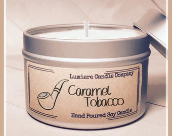 CARAMEL TOBACCO scented Soy Candle Tin, Scented Soy Candles, Hand Poured Soy Candles, Soy Candles Handmade, Travel Tin