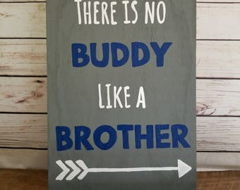 Brother Sign, Boys Room Sign, Shared Room, Boy Wall Decor, Custom Room Sign, Brother Quote, No Buddy Like a Brother, Boy Bedroom Decor