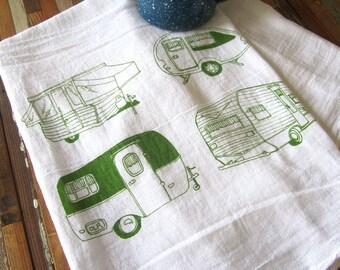 Tea Towel - Screen Printed Flour Sack Towel - Absorbent Kitchen Towel - Vintage Campers - Camping - Classic Flour Sack Towel - Eco Friendly