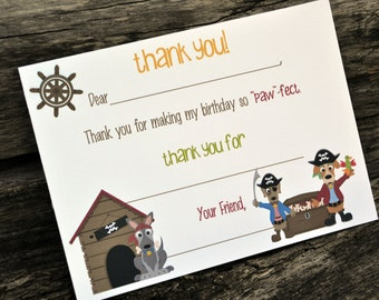 Kids Fill In the Blank Thank You Notes / Kids Thank You Notes / Childrens Dog Pirates Thank You Note Cards / Fill In The Blank Puppy Pirates