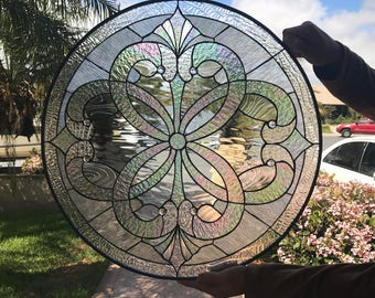 """The Stunning """"Round Windsor"""" Leaded Stained Glass Window Panel   (We do custom work! Please email me for a quick quote)"""