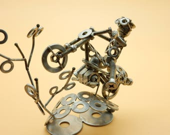boulons de motocross piste motocross motocross MX motocross racing motocross cadeau cadeau sculpture sculpture art métal Art du recyclage