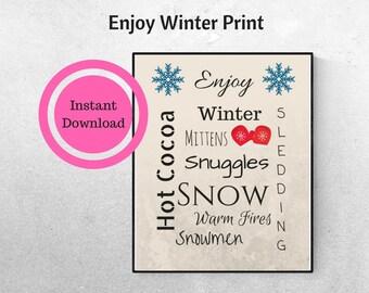 Enjoy Winter Print, INSTANT Download, Subway Art, Word Art, Winter Wall Art
