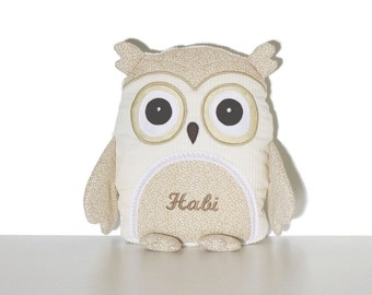 Stuffed Animal, Stuffed Owl Toy, Personalized Owl Pillow case