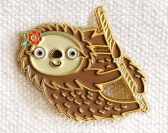 Sloth Pin - Lapel Pin - Gold Enamel Pin - Shiny Gold Metal - Kawaii Flair Pin - Best Seller - EP2095