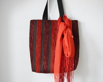 Red tote,canvas tote bag,stripes tote,black and red, canvas tote,shopping bag,red purse bag,shoulder purse,red purse bag,red tote bag