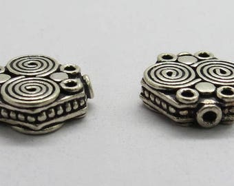 2 Pieces 925 Sterling Silver Bali Beads 14x4mm