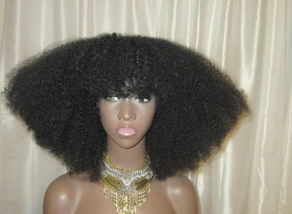 Essence Wigs Gorgeous 4C Bangs Afro Kink Bohemian Vibe Fro Afro Lacefront Wig Natural Hair Lace Wig Unit Full Cap