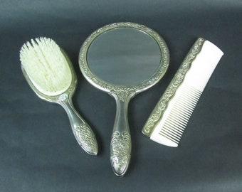 Silver Plated Vanity Set Vintage Ornate Floral Hand Mirror Brush Comb Set