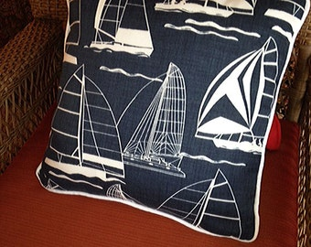 Sail Boat Pillow, Navy with white silhouette, solid navy back, without insert