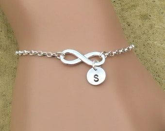 Infinity Bracelet Personalised, Silver Infinity Bracelet With Initial, Sister Bracelets Sterling Silver, Infinity Jewellery