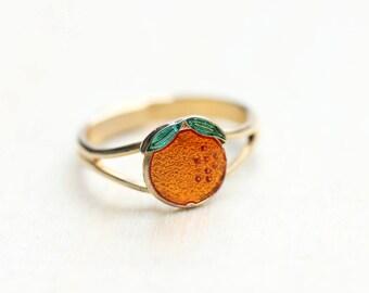 Orange Fruit Ring, Orange Ring, Fruit Ring, Enamel Ring, Small Ring, Pinky Ring