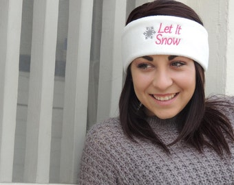 Let it snow fleece ear warmer, fleece headband, stocking stuffer, christmas gift, gift for her, winter hat, snow hat, headband, yoga heaband