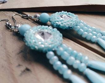Earrings - handmade - earrings with  glass crystals - blue earrings