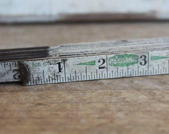 Vintage Wooden Folding Ruler // White & Black with Green // Accordion Ruler