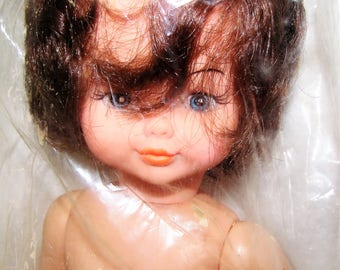 """DOLL, 14"""" BABY Doll, Movable Arms and Legs, Blue Eyes, Blushed Cheeks, Pink Lips, Brown Hair, Fair Skin Tone, White Shoes, AM 488"""
