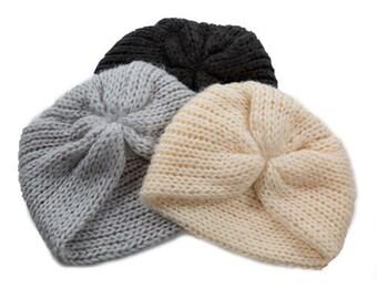 knit turban beanie made from very soft yarn