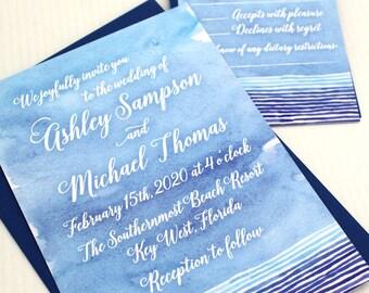 Beach Wedding Invitation, Watercolor Wedding Invitation, Beach Wedding Invitations