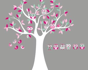 Nursery wall decal- Vinyl tree decal- Owl tree- 6 Free olws