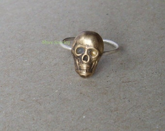 Skeleton head- Sterling Silver and Brass -Stacking Ring
