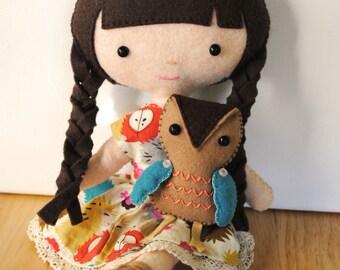Emily & Owl Felt Doll Sewing Pattern - Felt Doll Pattern and Mini Felt Owl Pattern -