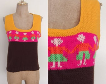 1970's Friendship Acrylic Sweater Vest Vintage Colorblock Top Size Small Medium by Maeberry Vintage