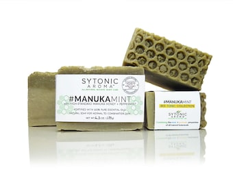 MANUKA MINT SOAP - Manuka Honey + Peppermint + Chlorella Algae (6.0 to 6.6 oz), All Natural, Handmade, Cold Process Soap