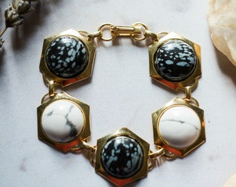 CLEARANCE Night and Day Bracelet - Black and White - Snowflake Obsidian, Howlite Bracelet - Semi Precious Stones, Hexagonal, Silver Gold