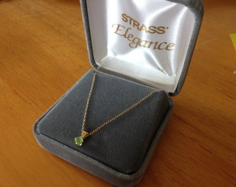 Vintage 1/20 14K Gold Filled Necklace with Green GemstonePendant, Length 16'', In Original Case