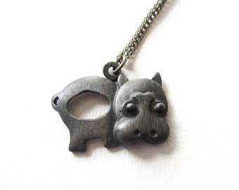 Pewter Hippo Necklace Vintage Cute Jewelry