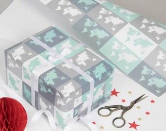 Metallic World Map Gift Wrap - christmas, wrapping paper, gift for him, gift for her, gift, gift wrapping, travel, world map, Free Shipping