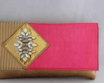 Pink Clutch with Premium Gold Jute
