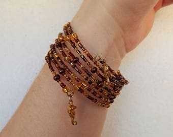 "OOAK Memory bracelet in golden and bronze tone ""Aurum sea"" with Seahorses charms"