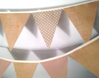 Hessian Bunting with a choice Beige Cream Polka Dot and Coffee for weddings Baby Showers Choose your own length from 1 meter