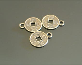Set of 50 small bronze charms shaped 12 x 0.95 calligraphy pieces of very thin, square, center hole