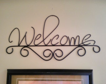Welcome sign, rustic metal wall decor, wrought iron wall art