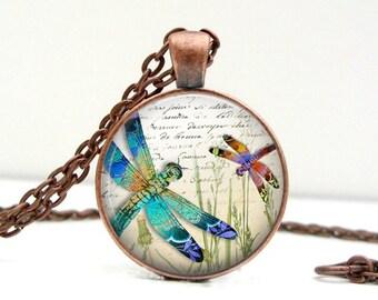 Jewel Dragonflies Necklace : Glass Art Pendant Picture Pendant Photo Pendant (1608)