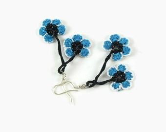 Blue Flower Earrings ,Crochet Dangle  Earrings , Lace Earrings, Crochet Jewelry, Boho Chic Summer Jewelry
