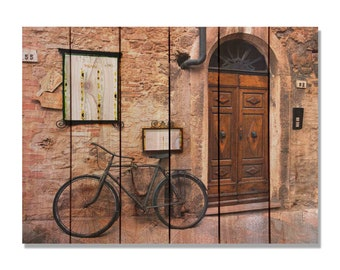 Italian Osteria Cafe on Cedar Wood, Wall Hanging, Home Decor, Indoor and Outdoor Art. (IO2216/3324)