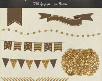 Gold Glitter Clipart Vector 8 Piece Pack - 6 Designs PNG Files & EPS Vectors - Digital Scrapbook Bunting Garland Flags Ribbon Frame Chevron