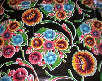 46x46 Oilcloth TABLECLOTH in black background with flowers