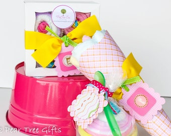 New Baby Girl Shower Gift Set w/ Diaper Bouquet,  Squeaky Clean & Bib Sundae