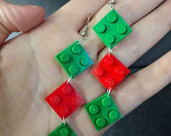 2x2 plate LEGO earrings - Christmas Colors