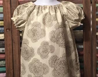 Girls peasant dress, Baby girls dress, Girls Easter dress, Boho girl dress, 100% cotton, Girls summer dress,  Size 3, #124,