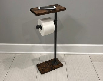 Toilet Paper Stand With Shelf, TP Holder, Paper Dispenser, Rustic Paper Holder, Pipe Toilet Paper Holder, Industrial Paper Stand, Wood Stand