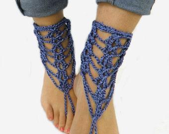 Beach Wedding Shoes - Wedding Boots - Barefoot Sandals - Denim Bule Barefoot Sandles - BottomLess Shoes Crochet Wedding Boots  by ZAPrix