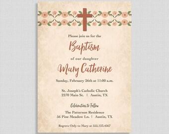 Rustic Baptism Invitation,  Baptism Invite, Christian Baptism Invite, Gender Neutral, Christening, DIY PRINTABLE
